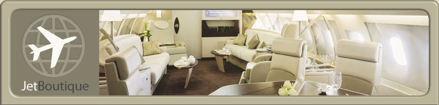 Site Logo and Airbus Corporate Jet cabin
